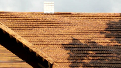 Front view of the the cedar wooden shingle roof of Footage