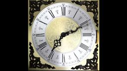 Clock face running backward at speed ornate grandf Animation
