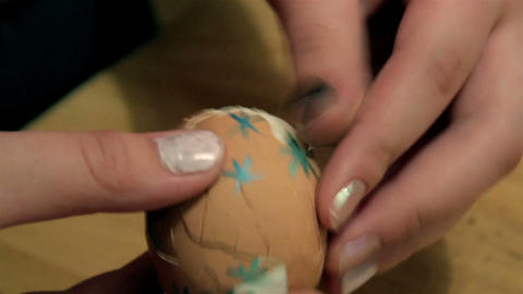 Peeling Star Designed Hard-boiled Egg stock footage