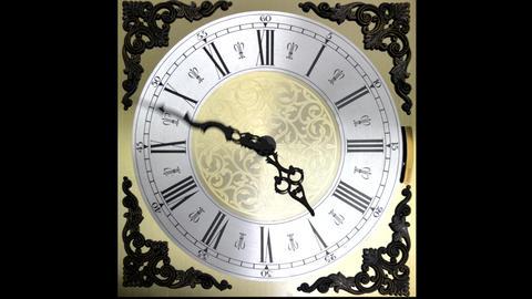 Clock face running forward at speed ornate grandfa Animation