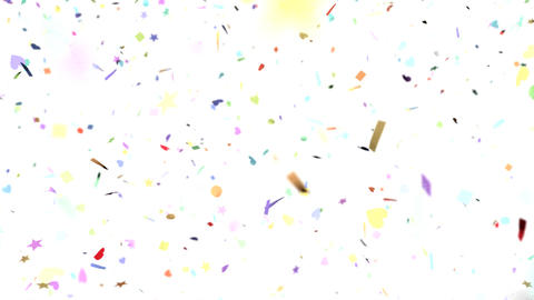 Confetti shapes falling slow motion DOF loop on wh Animation