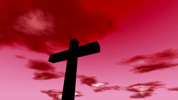 Cross Crucifix With Time Lapse Clouds Red Sky And  stock footage