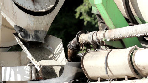 Cement mixer slowly mixing the cement inside Live Action