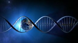 Abstract Animation Of Earth Inside A Glowing DNA S stock footage