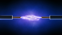Electrical spark between two copper wires - looped Animation