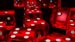 Dice rolling red slow motion closeup DOF on black Animation