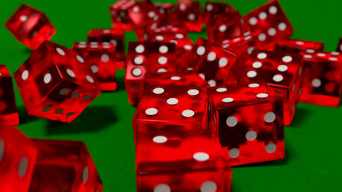 Dice rolling clear red slow motion closeup DOF on Animation