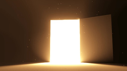 Door open to bright light warm yellow new opportun Animation