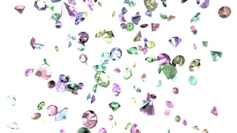 Gems diamonds gemstones ruby stones falling slow m Animation