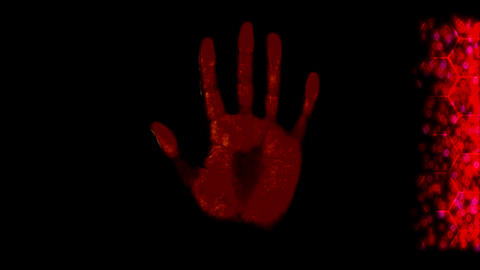 Hand scanner handprint fingerprint palm password i Animation