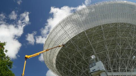 worker painting renovate huge radio telescop 11489 Footage