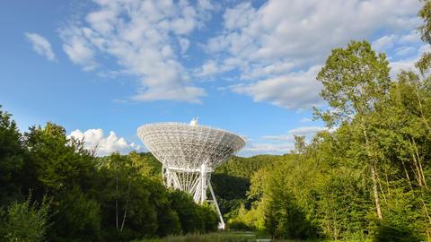 huge radio telescope wide zoom time lapse 11491 Footage