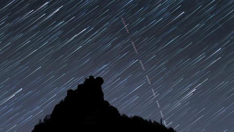 Milky Way Mountain Star Trail 11493 stock footage