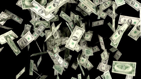 Money Falling In Slow Motion Dollars Financial Win Animation