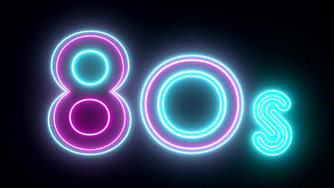 80s neon sign lights logo text glowing multicolor Stock Video Footage