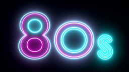 80s neon sign lights logo text glowing multicolor Animation
