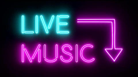 Live music neon sign lights logo text glowing mult Animation