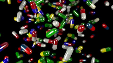 Pills drugs capsules falling slow motion closeup D Animation
