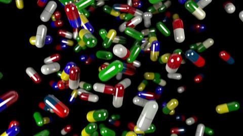 Pills drugs capsules falling slow motion closeup D Animation