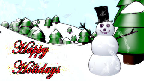Snowman Happy Holidays Happy Waving Cartoon Winter stock footage