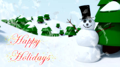 Snowman Happy Holidays Happy Waving Animation Wint stock footage