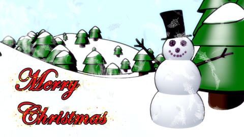 Snowman Merry Christmas happy waving cartoon winte Animation