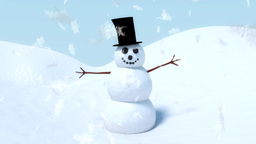 Snowman happy waving animation with winter snowfla Animation