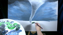 POV Of Artist Painting Dangerous Tornado On Canvas stock footage