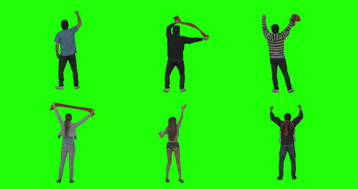 Cheering Fans On Green Screen stock footage