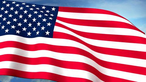 USA US Flags Closeup Waving Against Blue Sky CG Lo Animation
