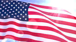 USA US American Flag Closeup Waving Against Blue S Animation