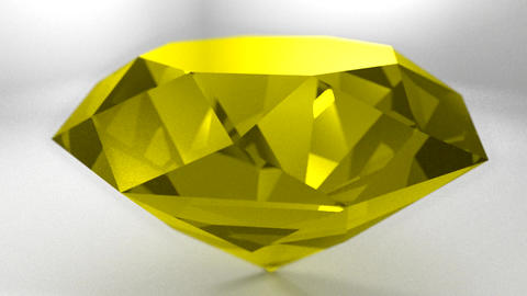 Yellow sapphire gemstone gem stone spinning weddin Animation