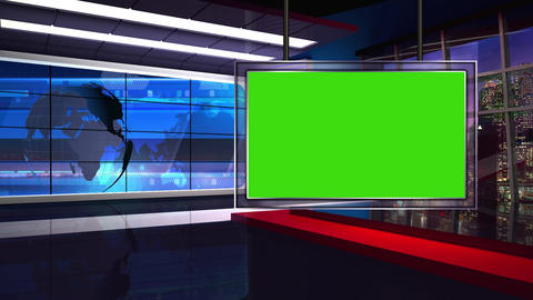 News 34 Virtual Green Screen Background Loop stock footage