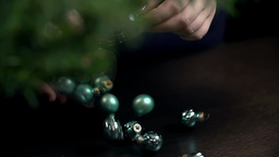 Ornaments Bouncing Over The Table In Slow Motion stock footage