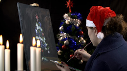 Christmas Spirit By Drawing Tree On Canvas stock footage