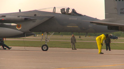 HD2009-6-6-18 apron F15 line Stock Video Footage
