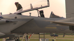 HD2009-6-6-28 apron F15 and crewman Stock Video Footage