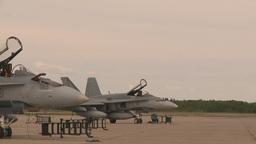 HD2009-6-7-2 F15 takeoff line F18s Stock Video Footage
