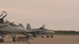 HD2009-6-7-2 F15 takeoff line F18s Stock Video Footage