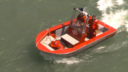 HD2009-6-8-18 fire rescue boat demo on peir Stock Video Footage
