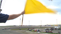 HD2009-6-12-5 stock car race yellow flag Stock Video Footage