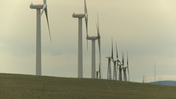 HD2009-6-20-17 wind turbines on ridge Stock Video Footage