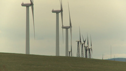HD2009-6-20-17 wind turbines on ridge Stock Video Footage