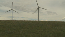 HD2009-6-20-21 wind turbines on ridge pan Footage