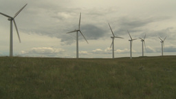 HD2009-6-20-21 wind turbines on ridge pan Stock Video Footage