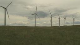 HD2009-6-20-21 wind turbines on ridge pan Stock Video Footage