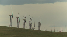 HD2009-6-20-23 wind turbines on ridge Stock Video Footage