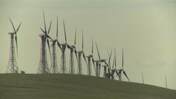 HD2009-6-20-31 wind turbines on ridge Stock Video Footage