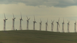 HD2009-6-20-35 wind turbines on ridge Stock Video Footage