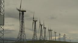HD2009-6-20-41 wind turbines on ridge Stock Video Footage